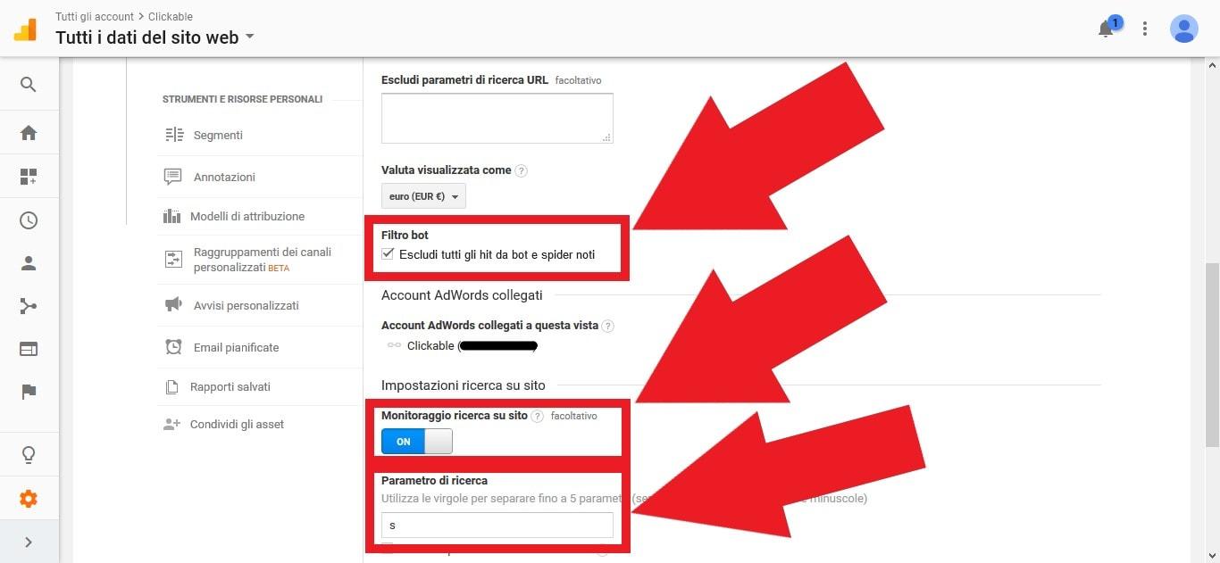 Attivare il monitoraggio della ricerca sul sito su Google Analytics