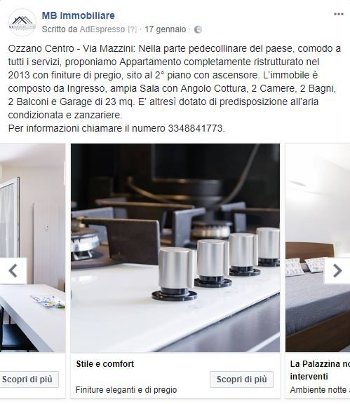 Carousel MB Immobiliare 2 - dettaglio inserzione Facebook Immobiliare
