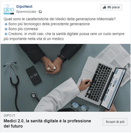 come promuovere i tuoi articoli su facebook - esempio post sponsorizzato Facebook