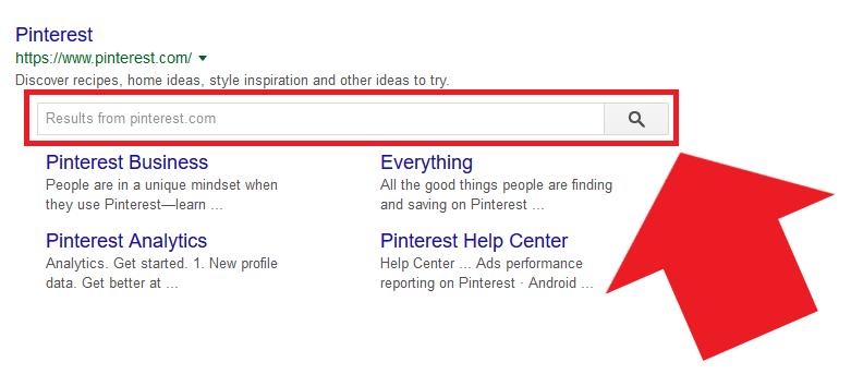 Tramite i dati strutturati, Pinterest ha realizzato la propria sitebar di ricerca