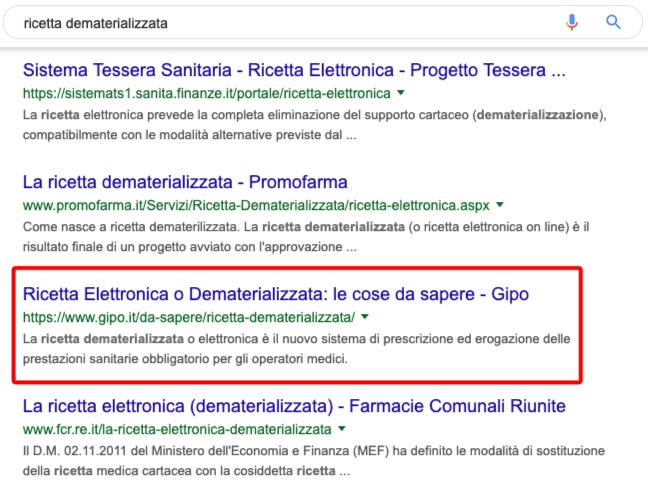 Esempio Risultato Google