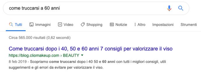 Esempio SERP su Google