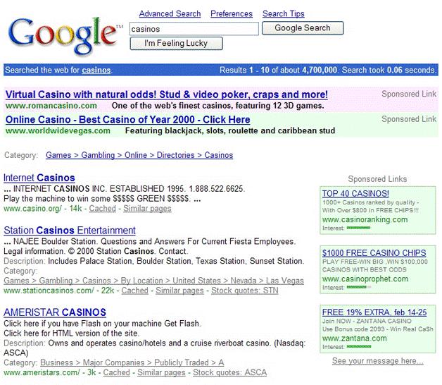 SERP Google 2001