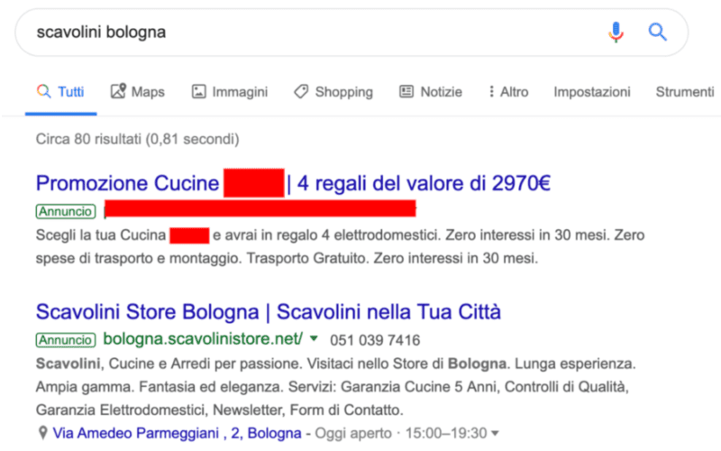 Scavolini - Concorrenza Google Ads