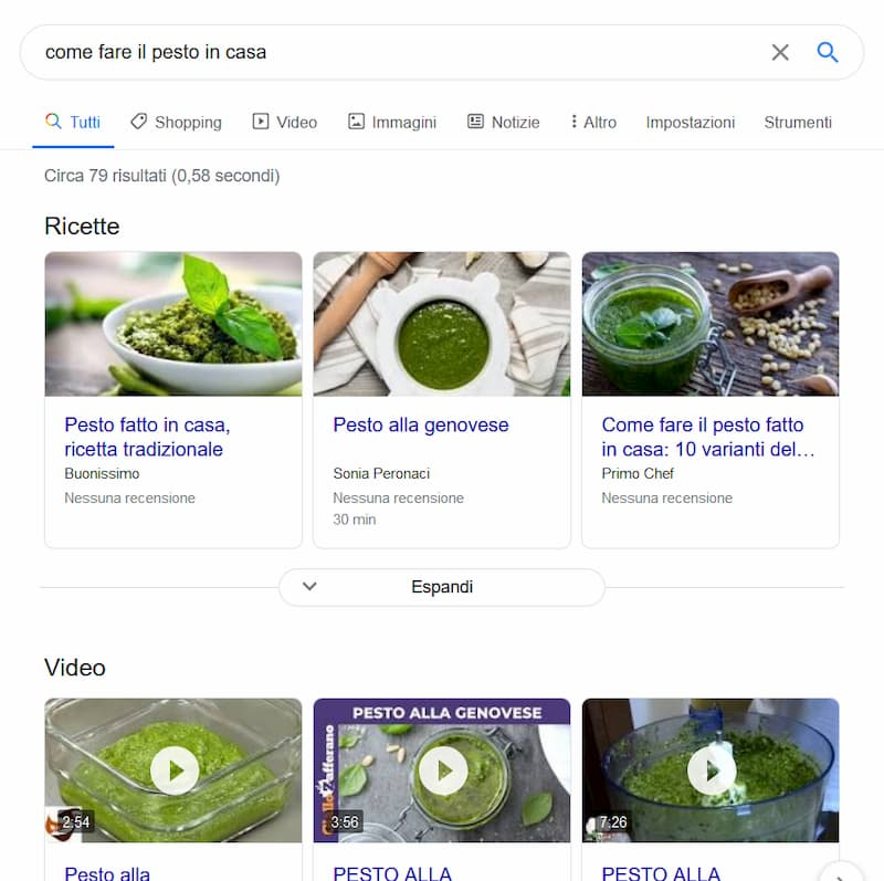 "Schermata di Google per ""Come fare pesto in casa"" - Desktop"